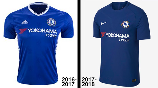 Chelsea kits: 2016-17 Adidas vs 2017-18 Nike Home, side by side